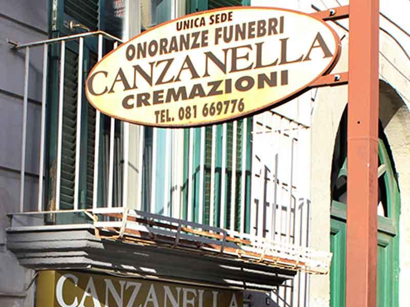 la sede della ditta onoranze funebri canzanella